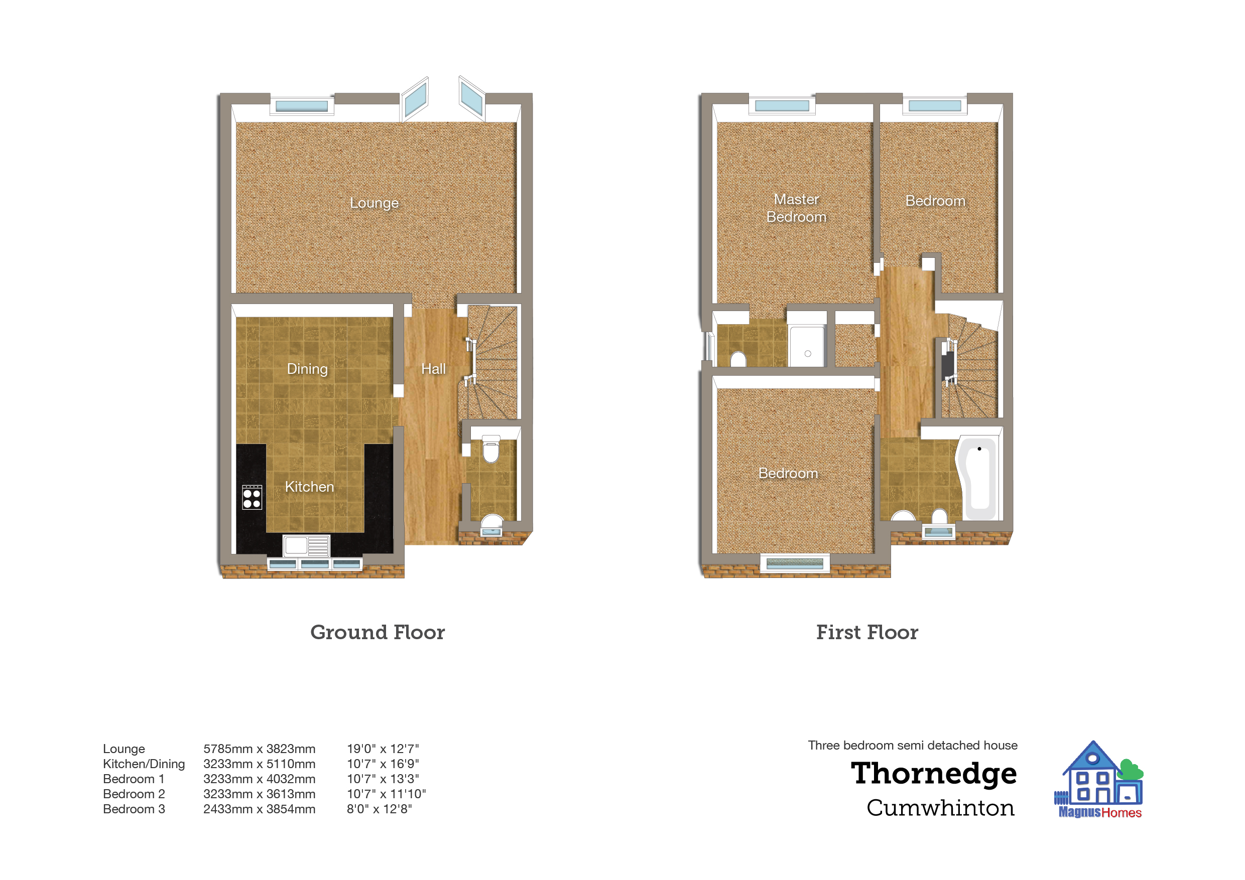 3 bedroom semi detached house with driveway parking plot for Kitchen ideas 3 bed semi